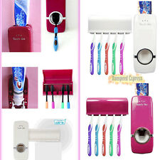 Automatic Toothpaste Tube Easy Dispenser + 5 Toothbrush Holder Set Wall Mount