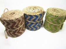 60mm*2yards Natural Chevron Jute Burlap Hessian Ribbon Print Trim Rustic Wedding