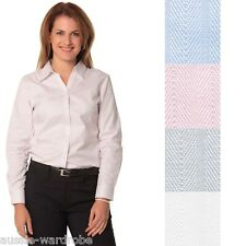 NEW LADIES WOMENS FINE COTTON SELF STRIPE LONG SLEEVE BUSINESS WORK CASUAL SHIRT
