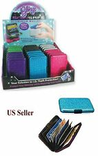 RFID Aluminum BLING SCANSAFE WALLET Identity Theft Protection 7 Card Slots NEW