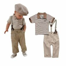 Toddler Baby Boy Clothes Strips Tops+Pants+Braces 3Pcs Gentleman Outfit Set 0-3Y