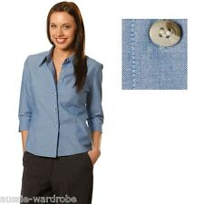 NEW WOMENS LADIES CHAMBRAY 3/4 SLEEVE WORK CASUAL DRESS COTTON SHIRT TOP