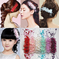 Great Rhinestone Bridal Wedding Flower Pearls Headband Hair Clip Comb Jewelry