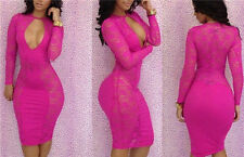 New lace women long sleeves bandage bodycon key hole cocktail short dress S-L