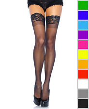 New Leg Avenue 1022Q Plus Size Stay Up Lycra Sheer Thigh High Stockings