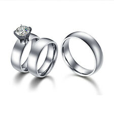 Men Women Classic Domed His & Hers Matching Wedding Rings Set in Stainless Steel