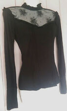 ♥ EX CHAINSTORE VINTAGE VICTORIAN STYLE FRILL LACE NECK BLACK TOP SIZE 6 - 20 ♥