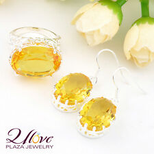 Golden Citrine Yellow Topaz 925 Silver Oval Earrings & Rings Jewelry Set new