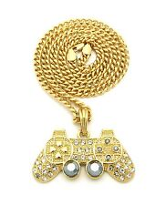 "New Iced Out GAME CONTROLLER Pendant &5mm/24"" Cuban Link Chain Necklace MSP381CC"