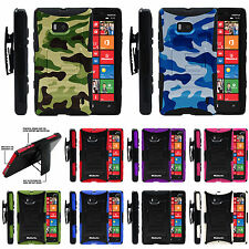 For Nokia Lumia Phone Models Rugged Dual Layer Image Holster Belt Case Cover