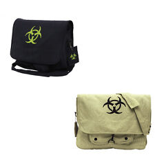 Black Khaki Canvas Bio Hazard Zombie Military Paratrooper Messenger Shoulder Bag