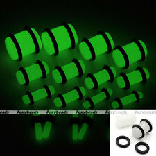 Pair Clear Acrylic Straight Luminous Glow in the Dark Plugs O-ring Ear Expander