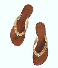 Tory Burch Thora Gold Leather Thong Flip Flops 5-10