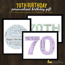 Personalised 70th Birthday Gifts 70 Seventy Seventieth Presents Man Woman 70th