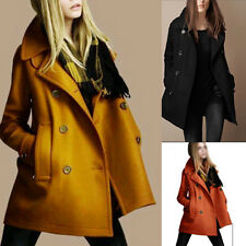 New Fashion Womens Slim Wool Trench Warm Coats Double Breasted Jackets Outwear A