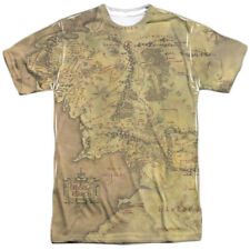 Lord of the Rings Action Movie Middle Earth Map Adult 2-Sided Print T-Shirt