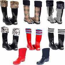 Women Rubber Rain Boots * Waterproof Warm Faux Fur Lined & Knit Top Cuff Styles