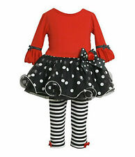 Bonnie Jean Baby Girl Bubble-Sleeve Tutu Dress Leggings Set Outfit SZ 24 MO