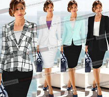 Womens Long Sleeve Business Casual Work Bodycon Skirt Suit Blazer Jacket 001