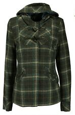 GEORGE Women Ladies Checked Grey & Blue Hooded Duffle Coat Jacket Size 8 - 24