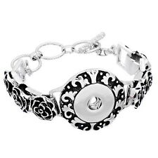 Wholesale Lots Bracelet Fit Snap Button Stereo China Rose Dull Silver Tone