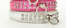 Rhinestone Dog Collar PINK or SILVER Chihuahua Poodle Puppy Bling Pet Crystals