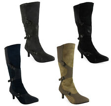 NEW WOMENS LADIES MID-CALF ZIP FASHION BUCKLE LOW KITTEN HEEL BOOTS SHOES SIZE