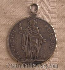 Antique Religious Medal Catholic Sterling Silver / Bronze St Peter 18thC #746