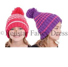 GIRLS WINTER BOBBLE HAT WITH POM POM KNITTED SKI WARM WOOLLY HAT CHILDRENS