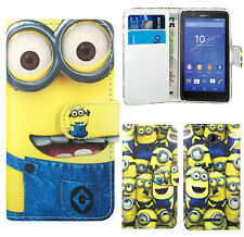 Despicable Me 2 Minion PU Leather Wallet Case Cover For Sony Xperia E E1 E3