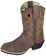 Kid's Distressed Brown Memphis Square Toe Western Style Cowboy Boots