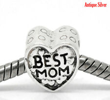 Cute Silver Plated Best Mom Heart Slider Large Hole Bead Charm fit Euro Bracelet