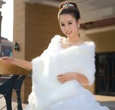 Charm white ivory faux fur straight bridal shawl Wrap Shrug Jacket Bolero Coat