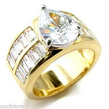 Pear Cut Stone 2.9ct CZ 18kt Gold Plated Engagment Ring