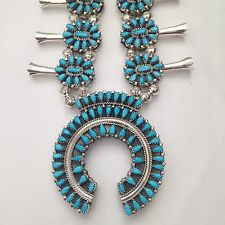 Sterling Silver Navajo Handmade Reversible Squash Blossom Necklace with Earrings
