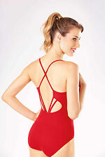 NEW! WOMENS BALLET CAMI LEOTARD WITH A GEOMETRIC BACK. 4 COLORS AVAILABLE (d398)