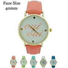 "Geneva Ladies Oui-Oui ""Yes-Yes"" French Words, Leather Fashion Wrist Watch 40mm"