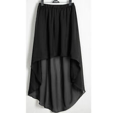 Black Asym Dress Skirt Sexy Women Girl Chiffon Pleated Retro Elastic Waist Hot