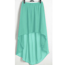 Turquoise Asym Dress Skirt Sexy Women Girl Chiffon Pleated Retro Elastic Waist