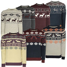 Xmas Christmas Jumper Mens Knitted Snowflake Reindeer Jumper Soulstar Sweater