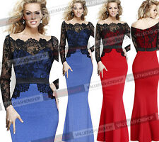 Womens Lace Formal Ball Prom Evening Party Cocktail Mermaid Maxi Long Dress 046