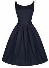 NEW LINDY BOP 'LANA' VINTAGE STUNNING MIDNIGHT BLUE 1950'S STARLET STYLE DRESS