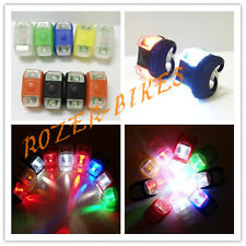 2 LED SILICONE BIKE BICYCLE FRONT REAR LIGHTS SET PUSH CYCLE LIGHT CLIP