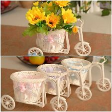 Rattan Flower Bow Tricycle Basket For Flower Vase / Storage Home Decoration FREE