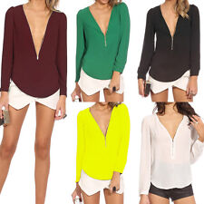 Mode sexy col V Femme Tops Chemise à manches longues Casual T-shirt Blouse Hauts
