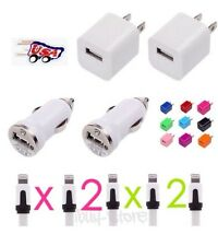 USB Home AC Wall + Car Charger + 2 x 8 Pin Data Sync Cable For iPhone 5 5S 5C 6