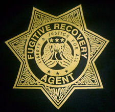 7 Pt Star - FUGITIVE RECOVERY AGENT black Tee-Sht  50% cotton 50 Poly Gildan