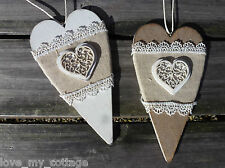 Shabby Chic Wooden Lace Hanging Heart Decoration Natural Cream Wedding Xmas Dec