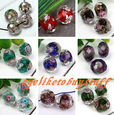 Murano Handmand Lampwork Glass Foil Flower Faceted Loose Bead Jewelry Making