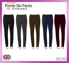 Ladies Pull On Ponte Ski Pants Elasticated Stirrup Women Trouser Plus Size 12-22